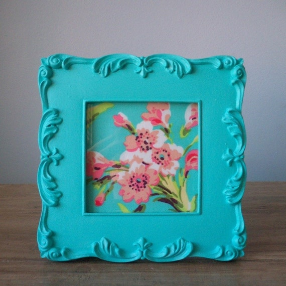 Pretty ornate turquoise bright tiffany blue picture frame