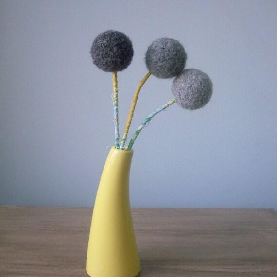 Grey Felt Flowers - Large pom pom flower arrangement -  Gray Yarn Pompoms -  Mustard and grey - Pom pom Flowers  - Winter Bouquet - Ombre
