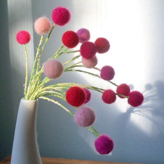 Pink felt flowers - Baby Girl nursery decor - Amaranth - Pink and red bouquet -  Pink wool pompom flowers - Felt balls - Pom pom bouquet