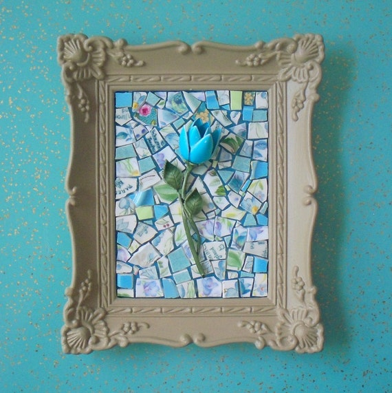 Handmade mosaic. Turquoise blue enamelware tulip on top of vintage china mosaic.  Cafe au lait ornate frame.  Wall decor.