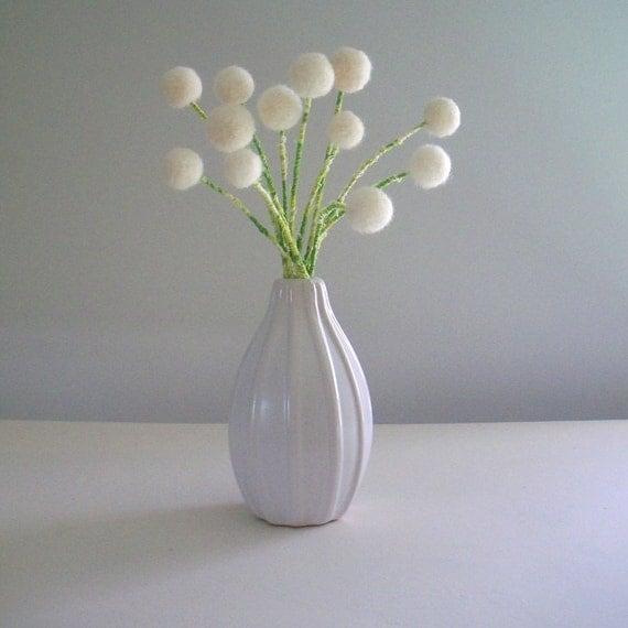 White flower bouquet.  Wool pom pom felted flowers.  Snowdrops, Dandelions.  One dozen rose buds.  Winter decor.  Faux flowers. Vase filler.