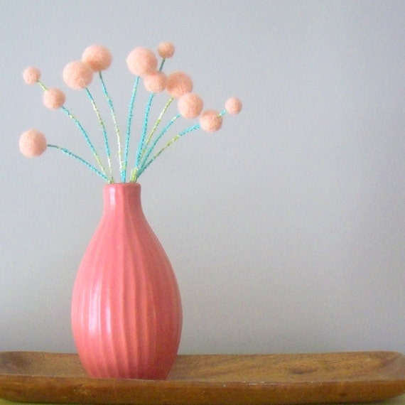 Peach pom pom flower blossoms - Peach flowers - Apricot wool balls - Woolly balls, billy buttons - Felted flowers - Paris Apartment decor