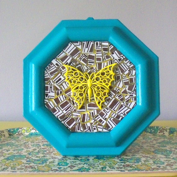 Yellow butterfly mosaic picture.  One of a kind wall art.  Honeycomb.  Teal frame.  Vintage enamel metal brooch pin repurposed.  Canary.