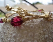 Red and Gold Bangle Set, Stacking Bangles, Statement Bling, Swarovski Crystal Elements, Wirewrapped, Made to Size