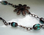 Bronze Turquoise Necklace Passion Flower Bronze Filigree with Natural Turquoise Stones 22 Inches