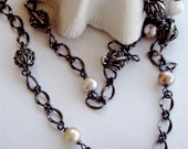 Natural Pearl Necklace Golden Cream Pearls Gunmetal Chain 40 Inch Length Necklace Mediterranean Spanish Style