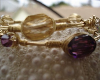 Gold Crystal Bangles with Swarovski Crystals in Gold and Amethyst, Jewelry Set