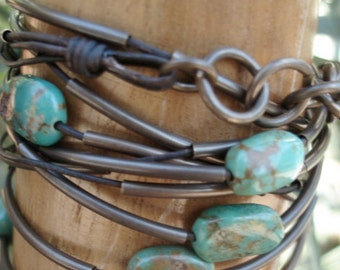 Turquoise Leather Wrap Bracelet with Bronze Beads, Multiwrap Bracelet with Nevada Turquoise, Turquoise and Bronze Necklace