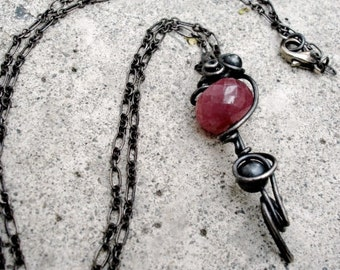 Raspberry Sapphire Pendant, Sapphire Faceted Gemstone Wirewrapped in Oxidized Sterling Silver