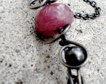 Raspberry Umber Sapphire Pendant, Wire Wrapped in Oxidized Sterling Silver, Sapphire Gemstone Necklace