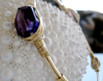 Amethyst Crystal Bangle in Gold