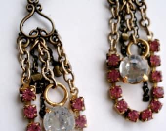 Bronze Chandelier Earrings, Gold and Bronze Earrings, Vintage Clear Crystal Drop Earrings, Fuchsia Pink  Rhinestones