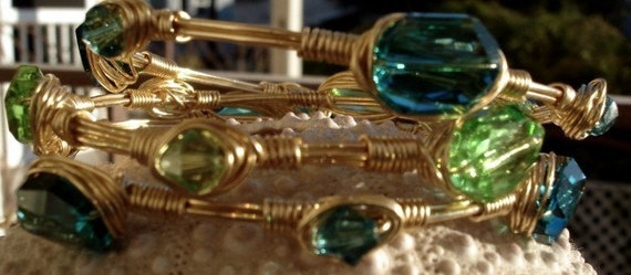 Gold Crystal Bangles, with Peridot and Teal Swarovksi Crystals, Wirewrapped Bangle Trio, Teal and Gold
