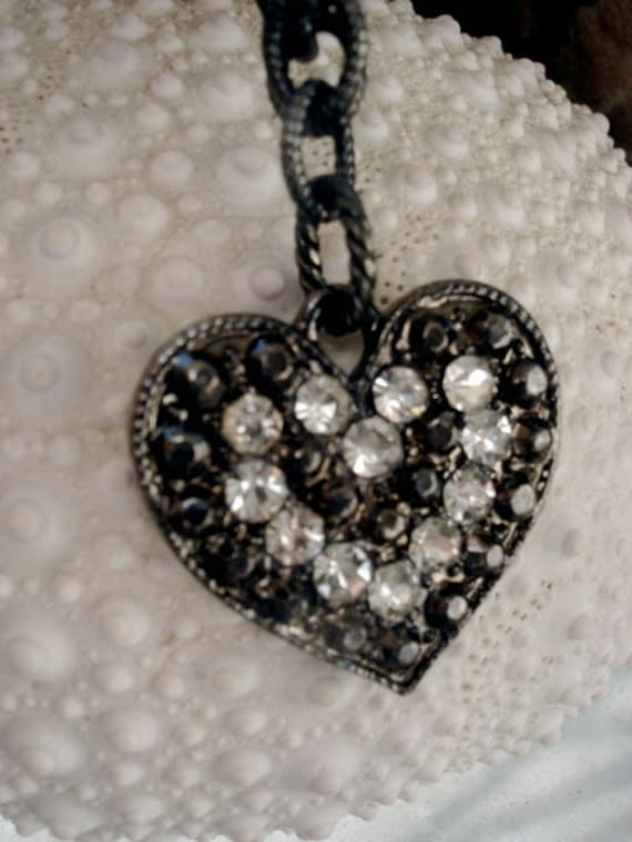 Black Heart Necklace, Gunmetal with Rhinestones, 18 Inches
