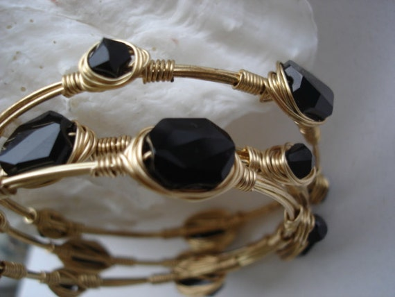 Gold Crystal Bangle / Black on Gold / Three Stackable Bangles /Swarovski Crystal Bangle /Bangle Trio