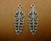 Fancy Filigree Pendant Drop Oxidized Silver Plated. One Pair.  (A557)