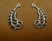 Filigree Leaves 29mm Right and Left Oxidized Silver. Single Leaf. (R197x). Only One Left.  50 PERCENT OFF