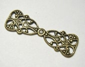 Great Filigree Connector or Fancy Bail Oxidized Brass .   Sold Individually  (R158)