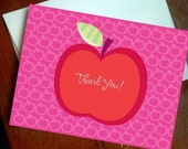 Apple Thank You Note Cards (Set of 10 cards) Great Teacher Gifts