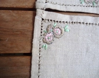 Vintage Linen Coasters with Embroidered Flowers