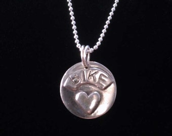 "Bicycle Jewelry - BIKE ""Heart"" Bike love pendant necklace"