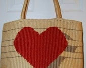 Vintage Straw Heart Bag