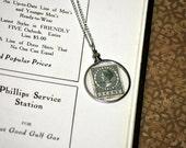 Vintage stamp pendant (The Netherlands)