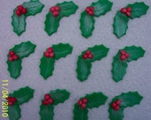 Fondant Cupcake or Cookie Toppers Edible 3D Christmas Holly