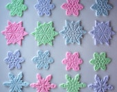 Fondant Cupcake or Cookie Toppers  Shimmering Snowflakes Pastel