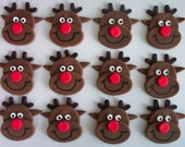 Fondant Cupcake or Cookie Topper Edible Rudolph the Red Nosed Reindeer