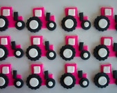 Tractors Pink Fondant Cupcake or Cookie Toppers
