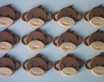 Baby Monkey Cupcake or Cookie Toppers Edible