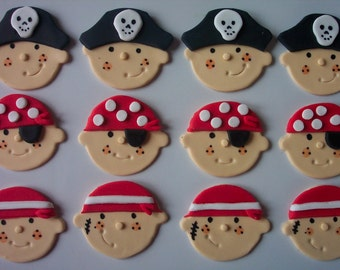 Pirate Faces Edible Fondant Cupcake or Cookie Toppers