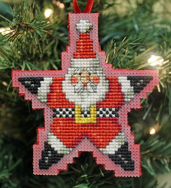 Cross Stitch Christmas Ornament - Santa Star