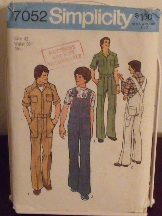 Vintage Simplicity Sewing Pattern 7052 Mens Jumpsuit and Overalls