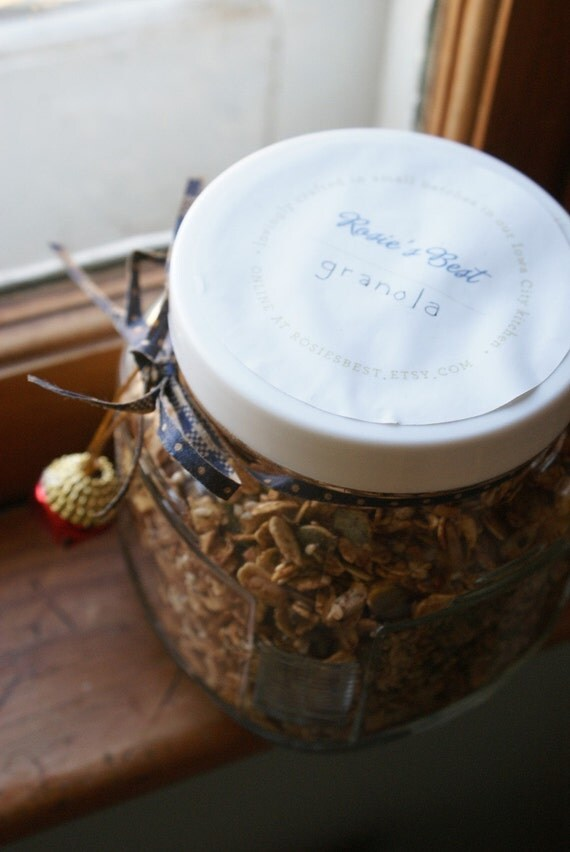 Rosie's Best Granola- House Recipe in Jar with Gold Raisins, Nuts, Seeds, Oats, and Honey