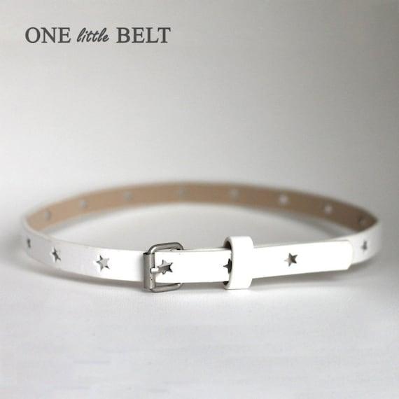 Baby Girl's Belt- White Star Skinny Belt 6-12 months