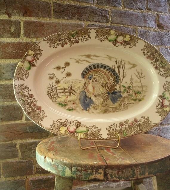 Thanksgiving Turkey Platter Vintage