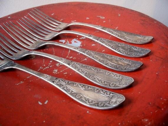 Vintage Forks Flatware Set of Five