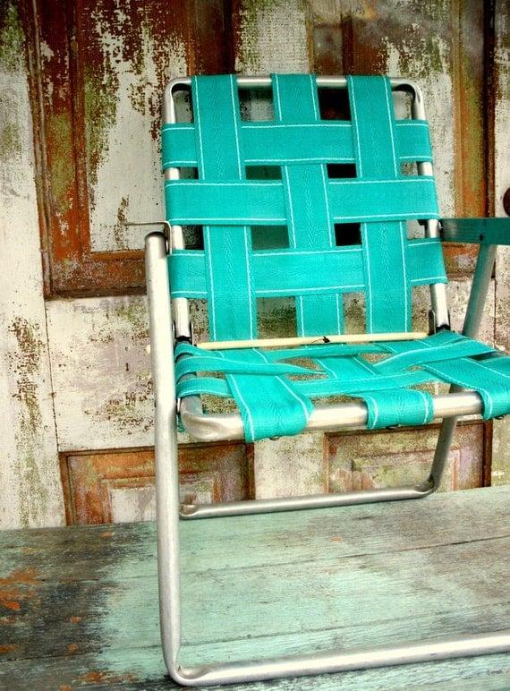 Vintage lawn chair webbing aluminum childrens chair for Lawn chair webbing