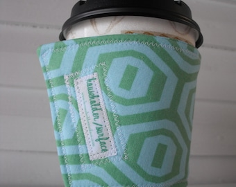 Coffee Cuff - Teal Honeycomb