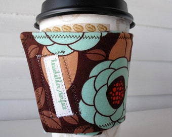 Coffee Cuff - Teal Blooms