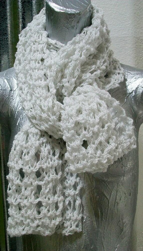 Open Knit Scarf Pattern : SCARF WOMEN KNITTED Open knit White Brides Metallic