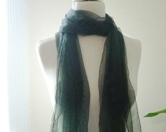 Black Extra long  Silk gauze Scarf (Perfect  for Nuno Felting)