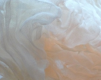 White 100% Cotton gauze fabric  for Nuno Felting.