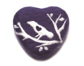 Violet Heart with a Bird (Felted Lavender Soap)