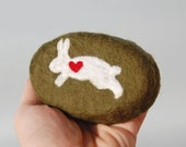 Felted Soap Olive Green Oval Soap with White Rabbit  (Cranberry Fig)
