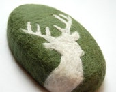 Felted Soap with White Deer