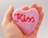 Felted Soap Pink Heart with the Word Kiss