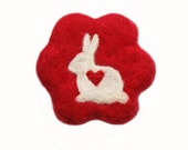 Felted Soap Red Flower with White Bunny ( Plumeria )